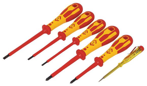 c k dextrovde 1000v screwdriver slotted parallel ph set of 6 t49182 c k tools superstore. Black Bedroom Furniture Sets. Home Design Ideas