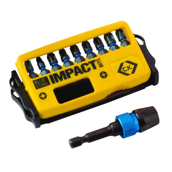 c k blue steel impact screwdriver bit pozi set of 10 t4510 c k tools superstore. Black Bedroom Furniture Sets. Home Design Ideas